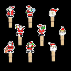 santa claus badge on wooden clothespin