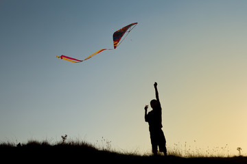 A boy flies a kite
