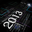 New Year Greeting on Background of Technology