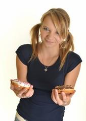 Eating donut