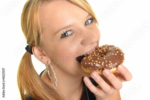 Eating donut