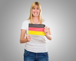 woman holding a german flag