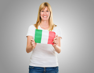 woman holding an italian flag