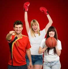 group of young sporty people