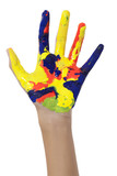 hand with colorful hand paint