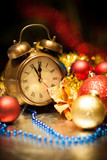 Clock and christmas balls - holiday background