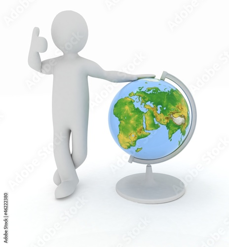 Man by presentation a globe over white