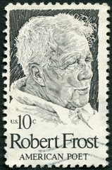 UNITED STATES OF AMERICA - 1974: shows Robert Frost (1874-1963)