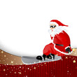 Vector Illustration of a Santa Claus on a Snowboard