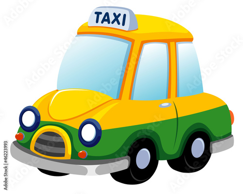 illustration of Cartoon taxi car on white