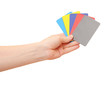 Collection of woman's hand hold collection of colorful card isol