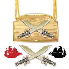 Pirate swords over wood banner and white