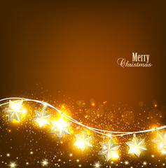 Brown Christmas  background with luminous garland. Vector illust