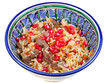 traditional asian pilaf with pomegranate seeds