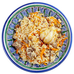 top view on traditional asian pilau with garlic