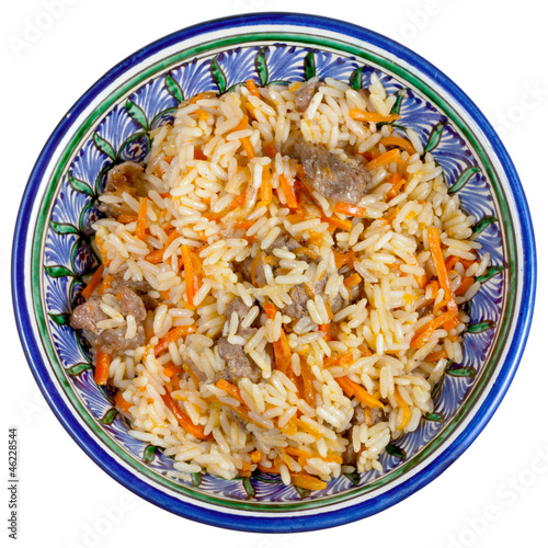 top view on traditional asian pilau with meat