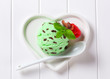 Scoop of green ice cream