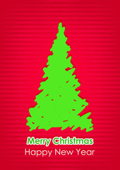 Drawn green Christmas tree on red background.