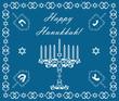 Chanukah holiday background with dreidels and khanukiyah, vector