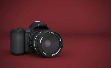 DSLR Vollformat - Digitale Spiegelreflexkamera Schwarz auf Rot