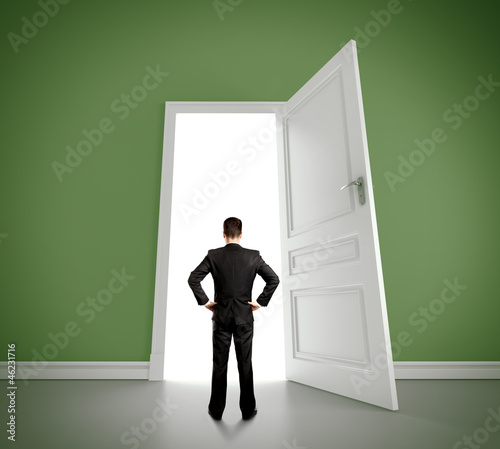 man in green room