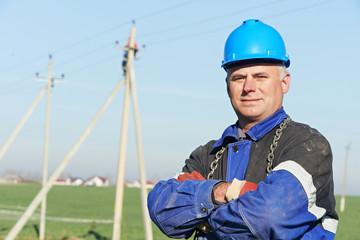 Portrait of electrician power lineman
