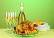 table setting for Thanksgiving day on green background close-up