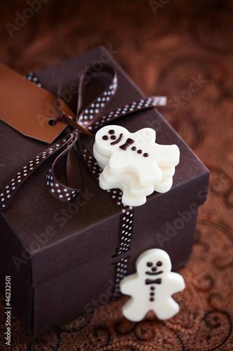 White chocolate christmas candy man and gift box