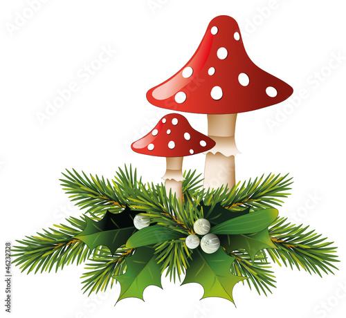 Pilze mit Mistel- und Tannen-Zweige