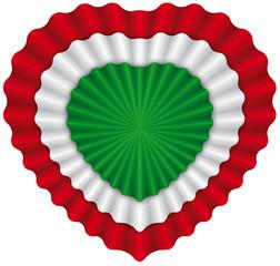 Heart cockade italian flag - Coccarda cuore italiana