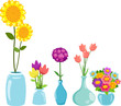Set of flowers in vases