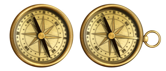 aged brass antique nautical pocket compass set isolated on white