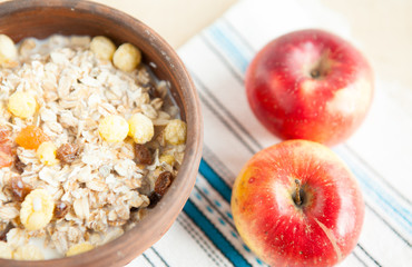 Healthy and vitamin breakfast cereal  multi сorn and apples