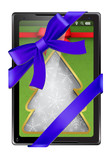 Tablet PC with blue ribbon and bow isolated