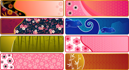 banners with Japanese patterns
