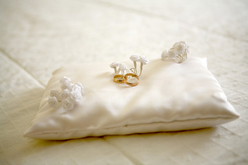Two wedding rings with white flower in the background, wedding p