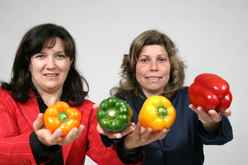 woman with colored peppers, healthy food photo