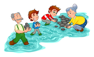 Family is making a dam with stones.  Vector  illustration.