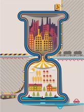 Stadtinfografiken in Sanduhr, Vektor