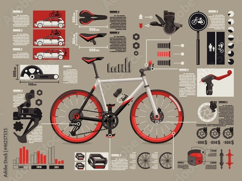 bicycle info graphics, - 46237535