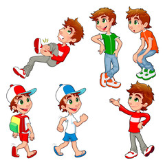Boy in different poses.  Vector isolated characters.