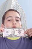 boy blinded by money, studio photo