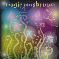Background with magic mushrooms