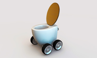 toilette with wheels