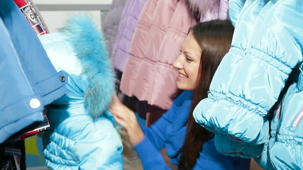 Shopping For Winter Clothes in Clothing Store