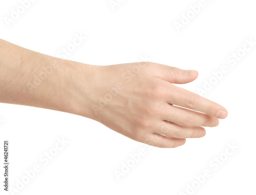 Empty open men hand on white background