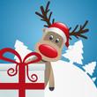 reindeer behind gift box red white ribbon