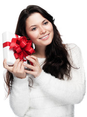 Woman is looking forward to her gift - isolated