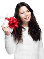 Young woman is looking forward to her gift - isolated