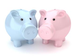 Sparschweine pink & blau